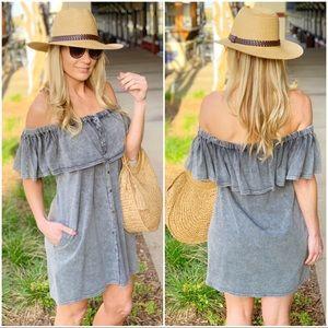 Charcoal Off shoulder mineral wash dress